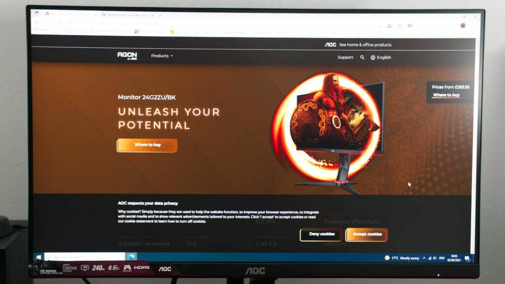 AOC 24G2ZU 24 Inch 240 Hz Gaming Monitor Review