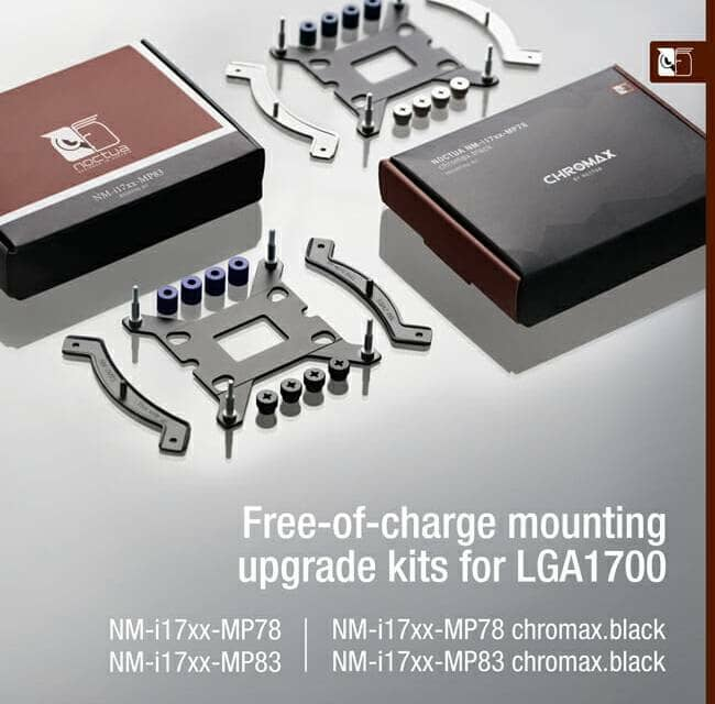 Noctua announces free-of-charge mounting upgrades and updated CPU coolers for LGA1700