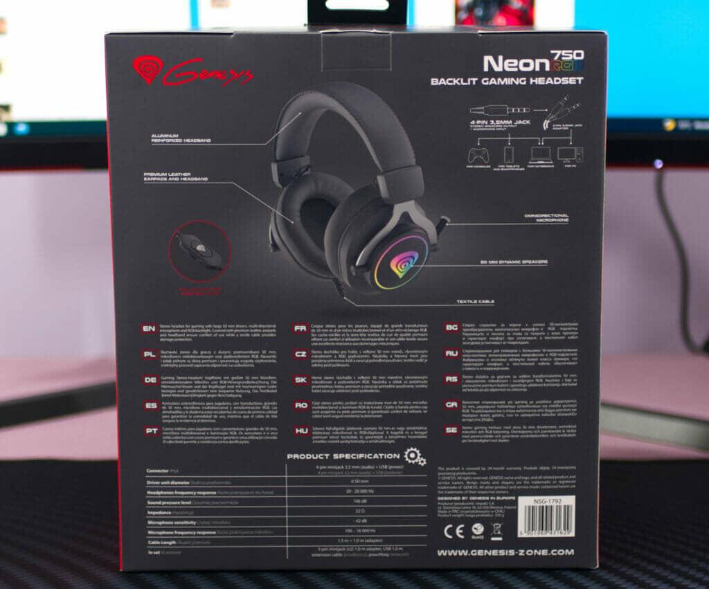 Genesis Neon 750 RGB Gaming Headset box back