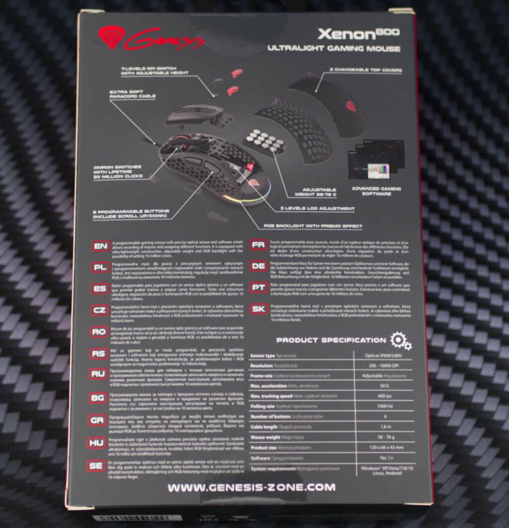 Genesis Xenon 800 mouse box back